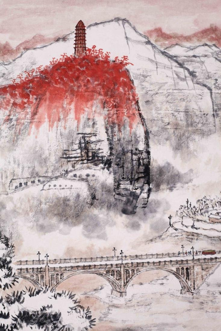 CHINESE SCROLL PAINTING OF MOUNTAIN VIEWS WITH - 2