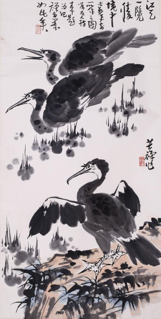 CHINESE SCROLL PAINTING OF DUCKS