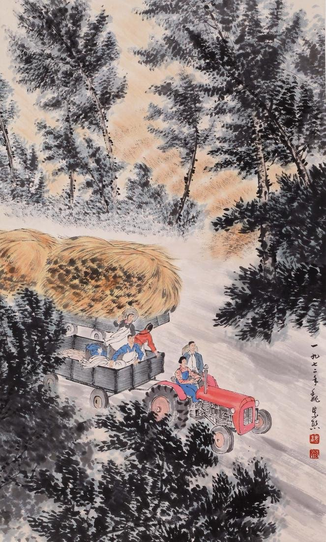 CHINESE SCROLL PAINTING OF FARM VIEWS