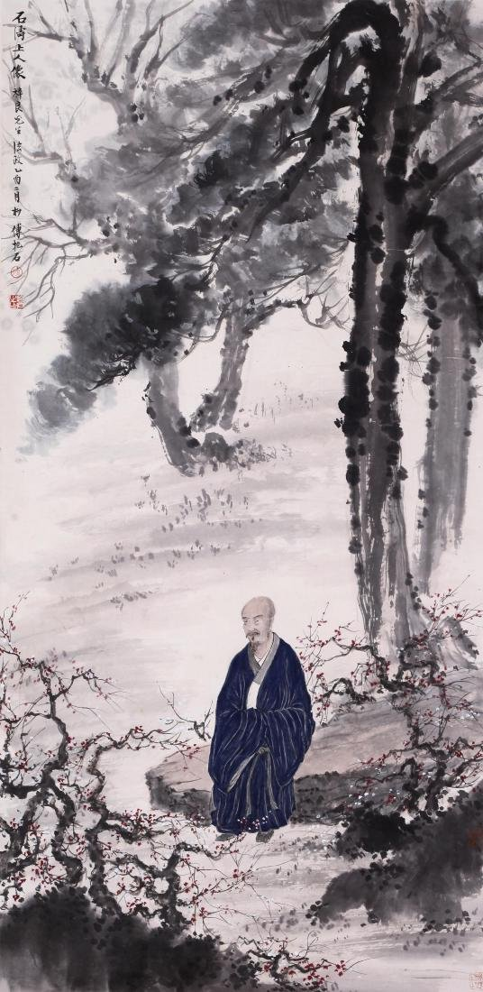 CHINESE SCROLL PAINTING OF LOHAN IN WOOD WITH