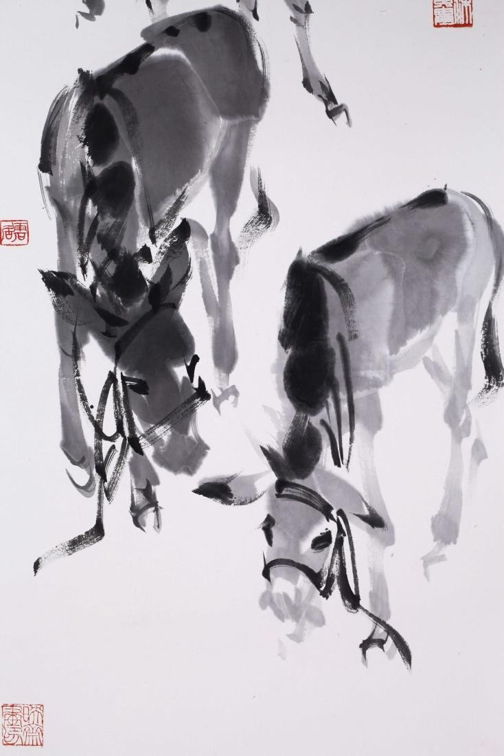 CHINESE SCROLL PAINTING OF DONKEY WITH PUBLICATION - 2