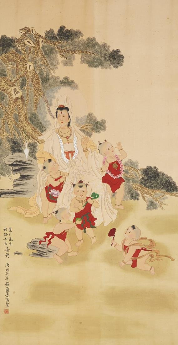 CHINESE SCROLL PAINTING OF GUANYIN AND BOYS