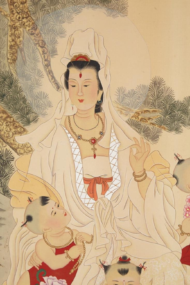 CHINESE SCROLL PAINTING OF GUANYIN AND BOYS - 2