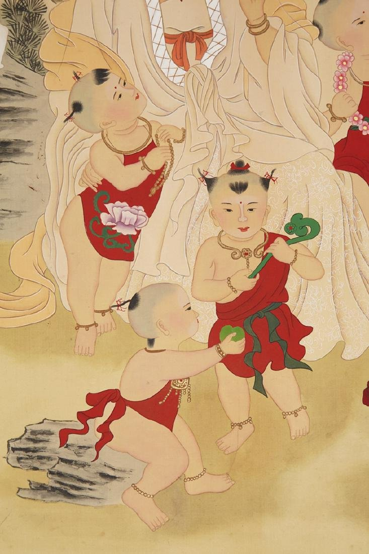 CHINESE SCROLL PAINTING OF GUANYIN AND BOYS - 3