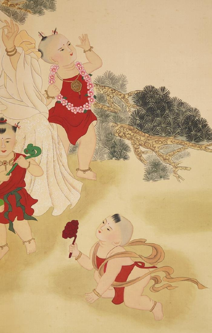 CHINESE SCROLL PAINTING OF GUANYIN AND BOYS - 4