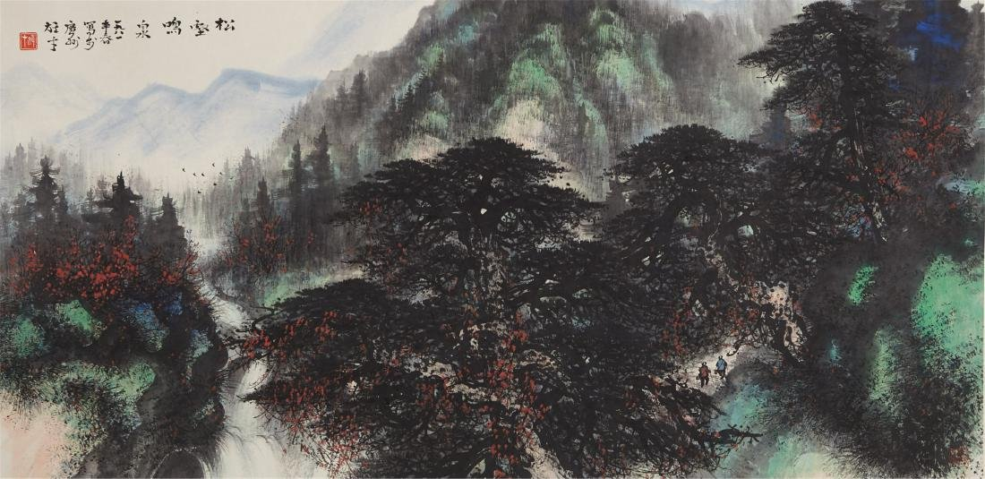CHINESE SCROLL PAINTING OF PINE TREES