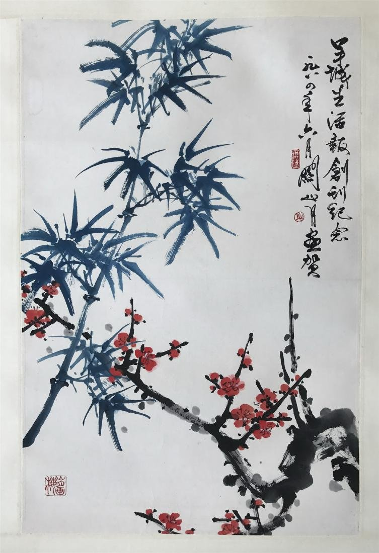 CHINESE SCROLL PAINTING OF BAMBOO AND PLUM