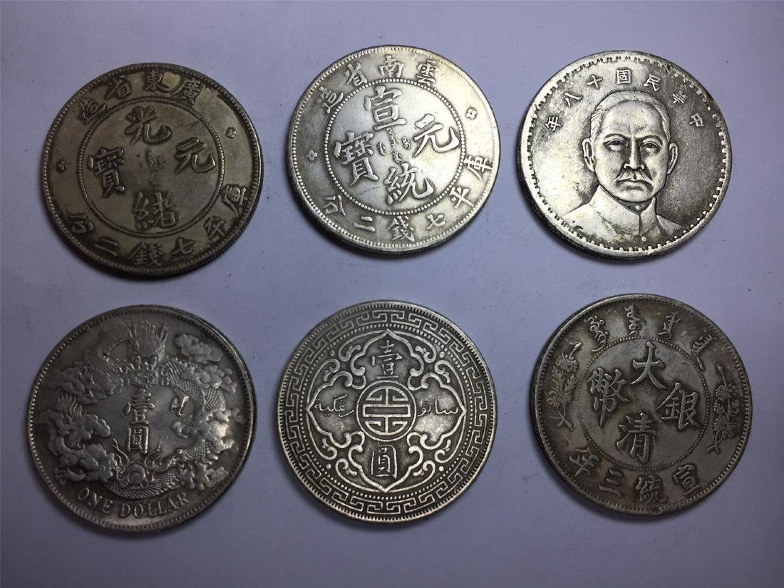 SIX CHINESE DOLLAR COINS REPUBLIC PERIOD - 2