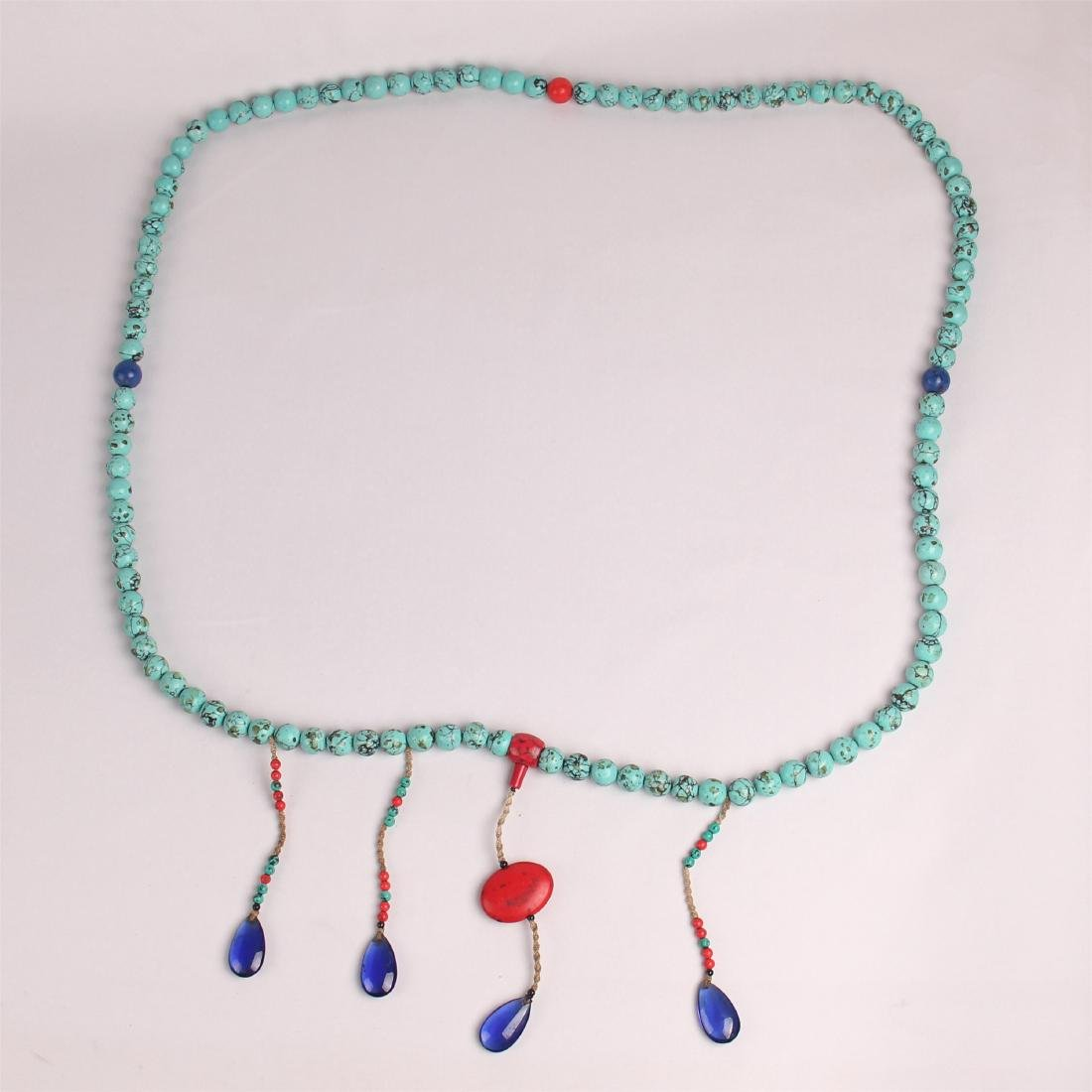 CHINESE TURQUOISE BEADS COURT NECKLACE CHAOZHU