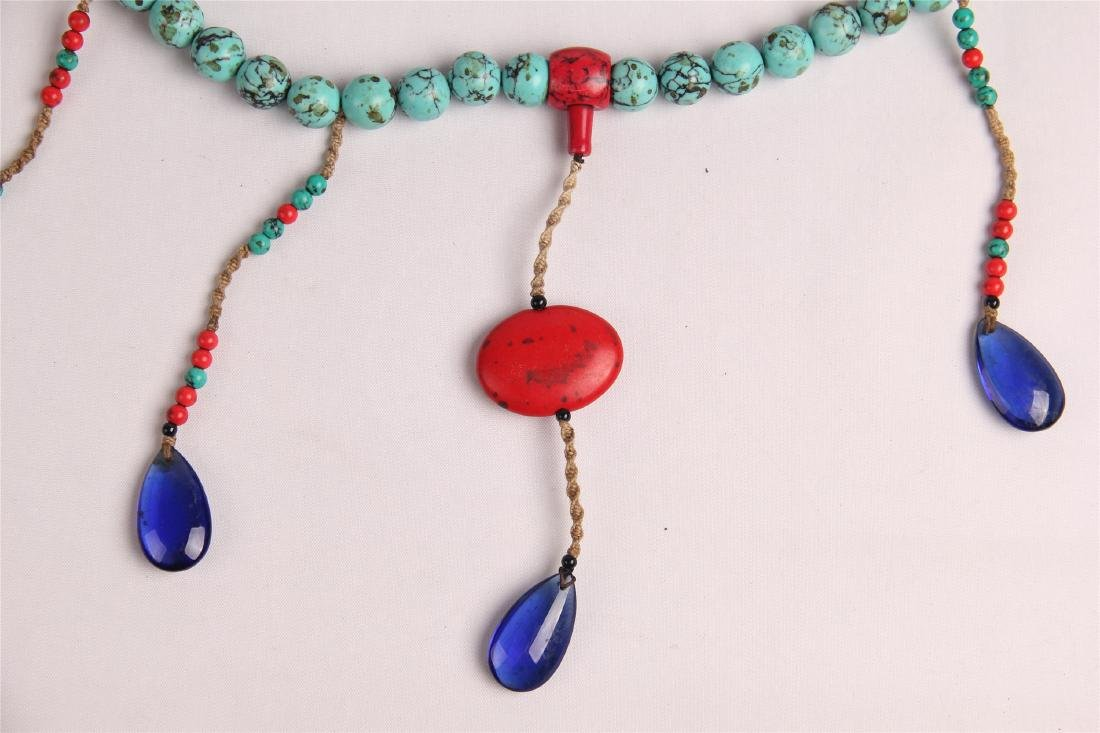 CHINESE TURQUOISE BEADS COURT NECKLACE CHAOZHU - 4