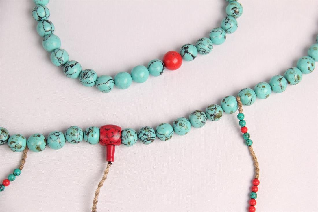 CHINESE TURQUOISE BEADS COURT NECKLACE CHAOZHU - 6