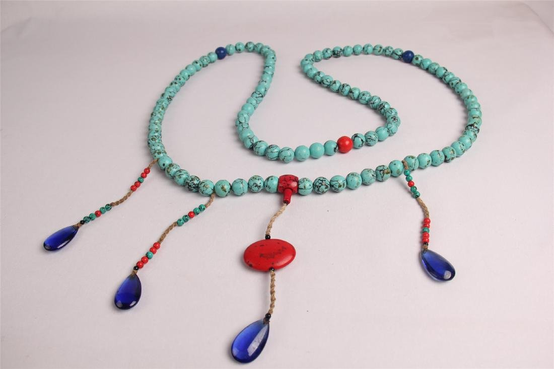 CHINESE TURQUOISE BEADS COURT NECKLACE CHAOZHU - 7