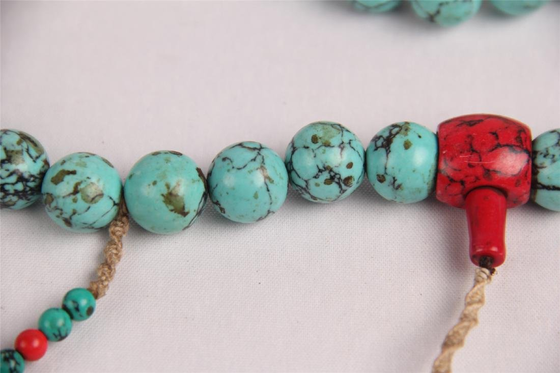 CHINESE TURQUOISE BEADS COURT NECKLACE CHAOZHU - 8