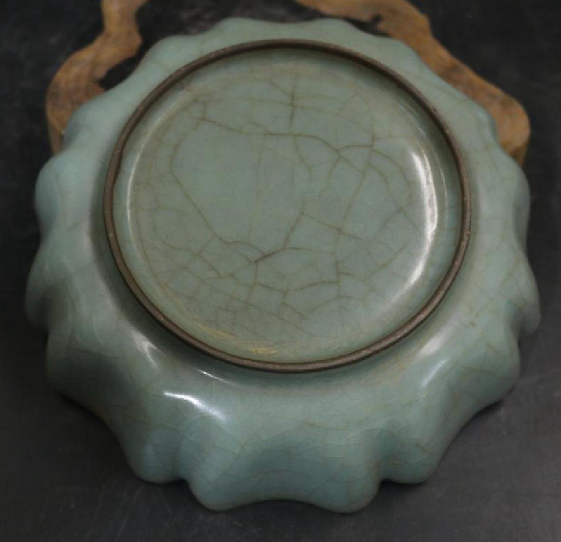 CHINESE PORCELAIN SONG DYNASTY CELADON PLATE - 4