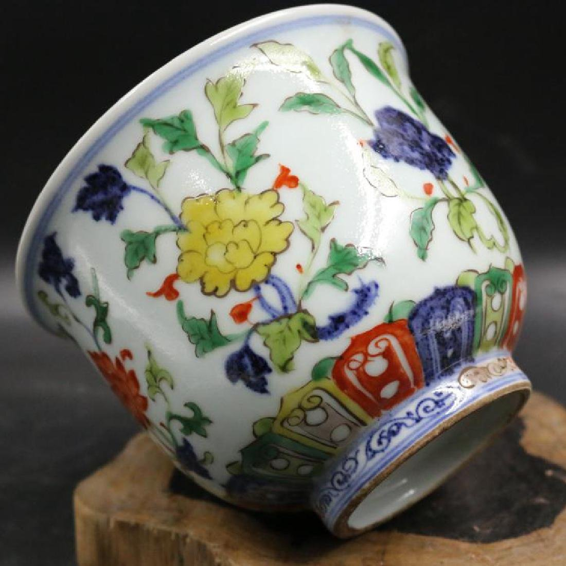 CHINESE PORCELAIN WUCAI FLOWER CUP - 2