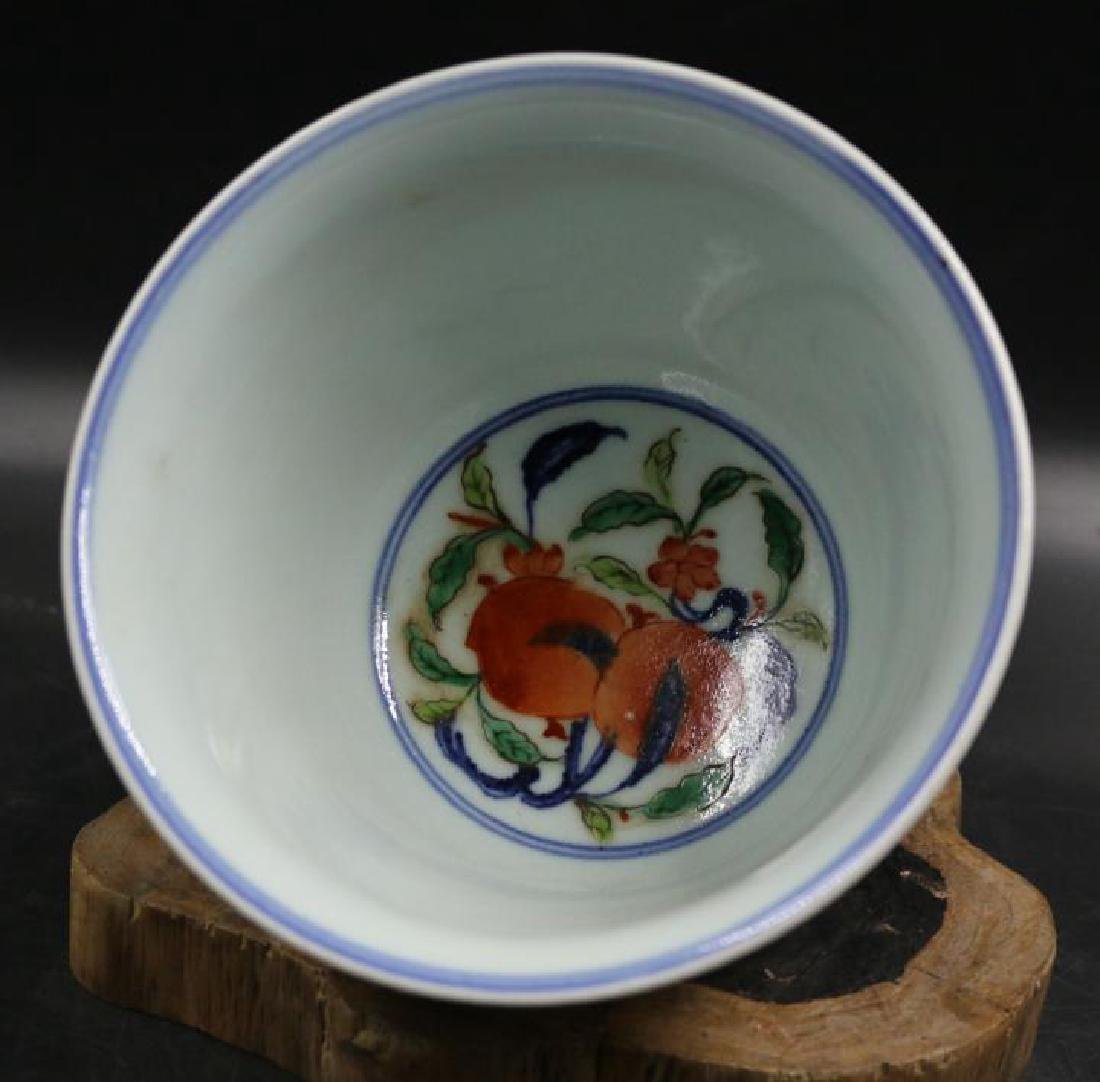 CHINESE PORCELAIN WUCAI FLOWER CUP - 3
