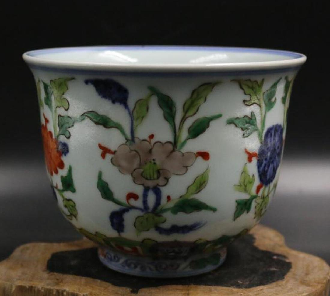 CHINESE PORCELAIN WUCAI FLOWER CUP - 4