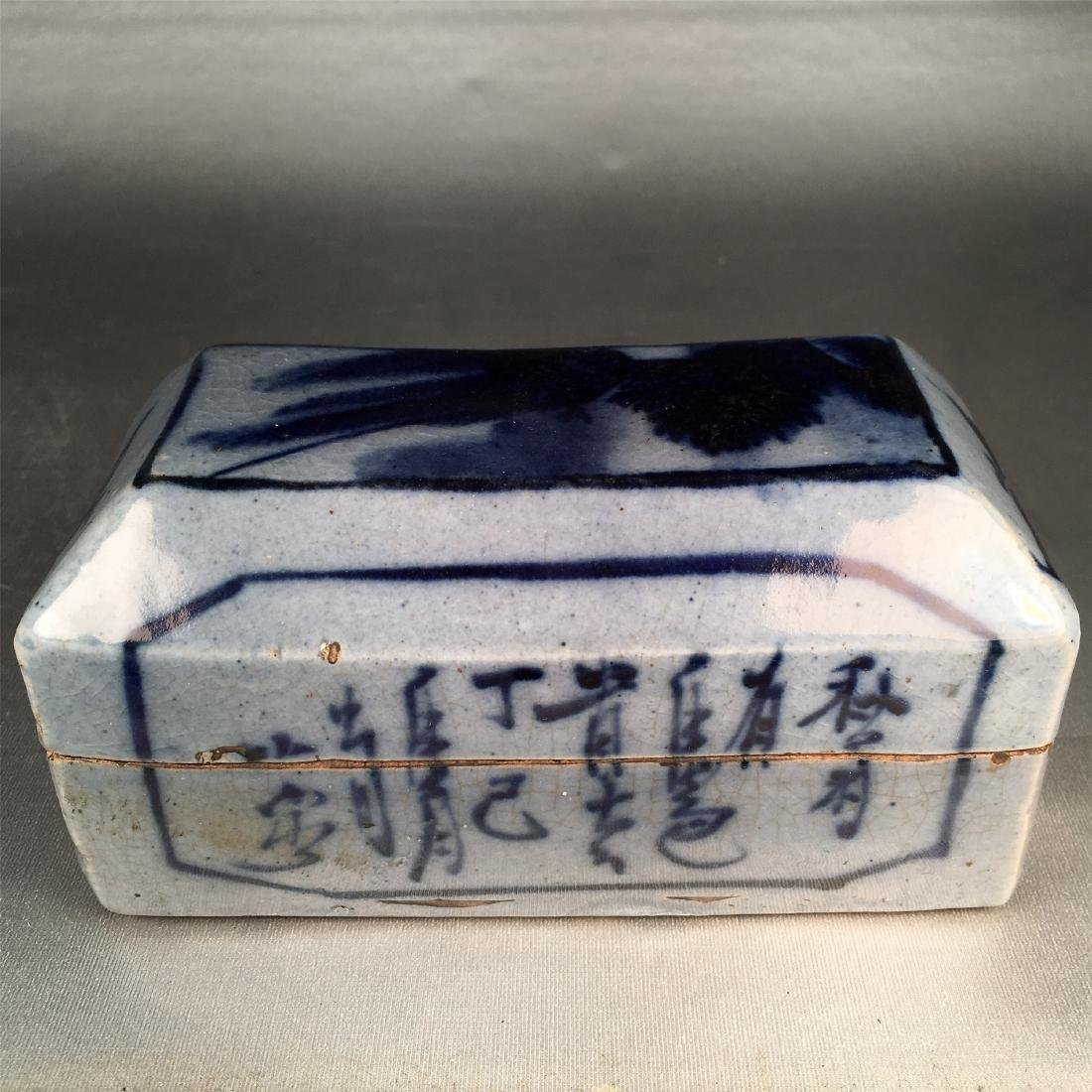CHINESE PORCELAIN BLUE AND WHITE BOX