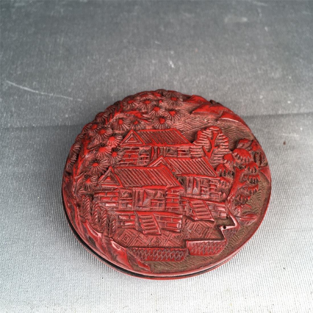 CHINESE CINNABAR BOX CHING DYNASTY