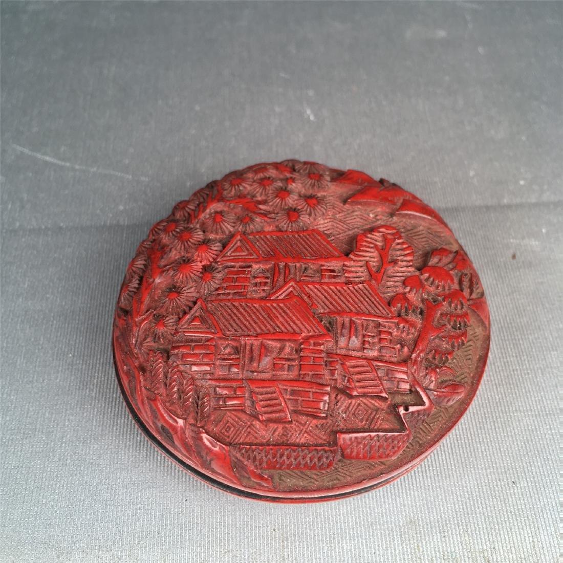 CHINESE CINNABAR BOX CHING DYNASTY - 2
