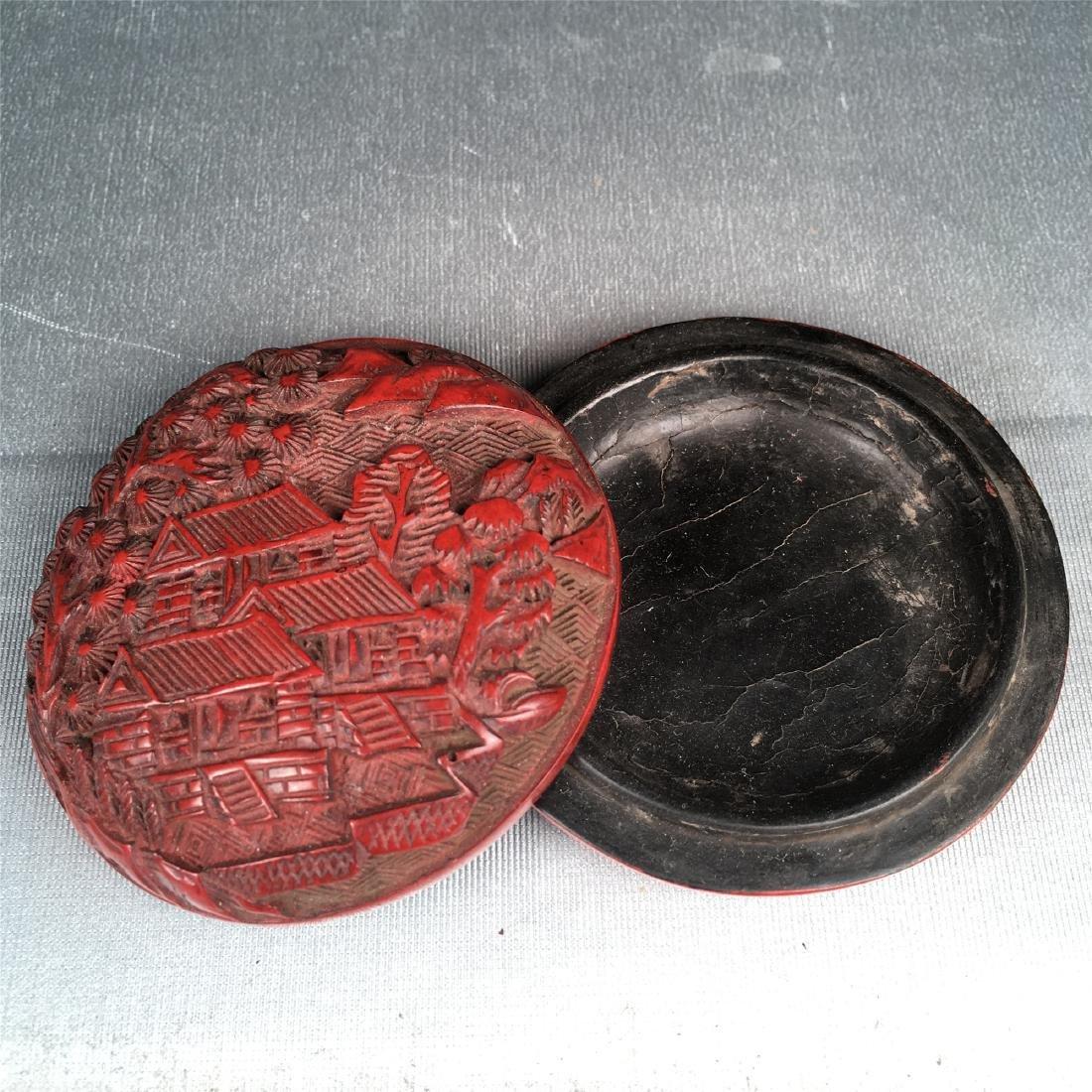 CHINESE CINNABAR BOX CHING DYNASTY - 3