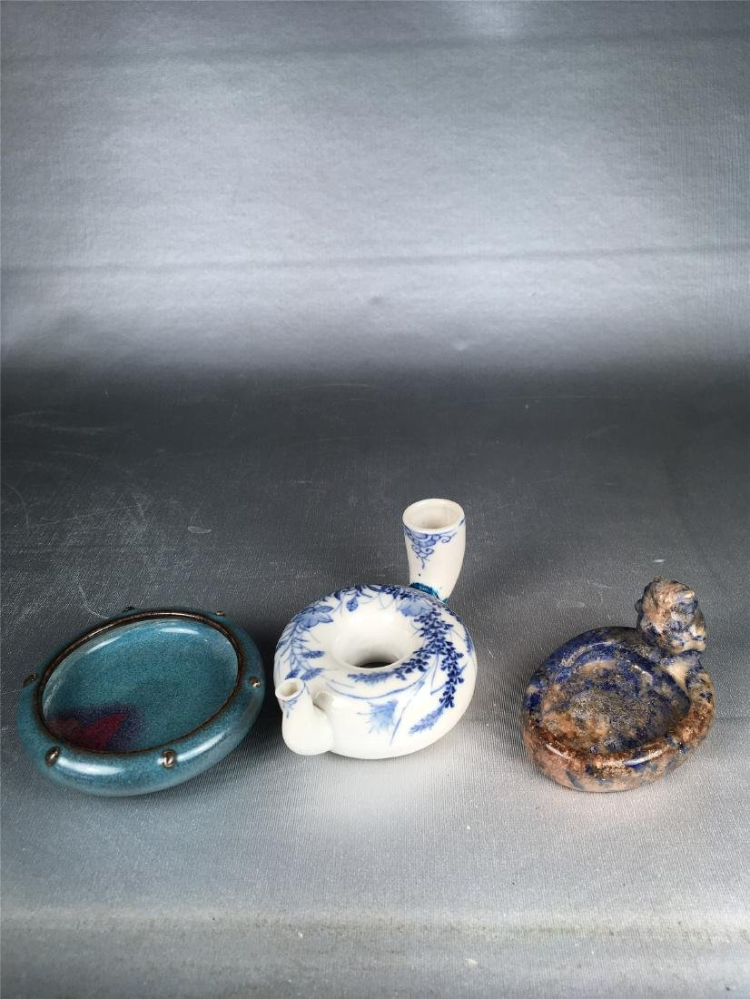 THREE CHINESE PORCELAIN BRUSH WASHERS