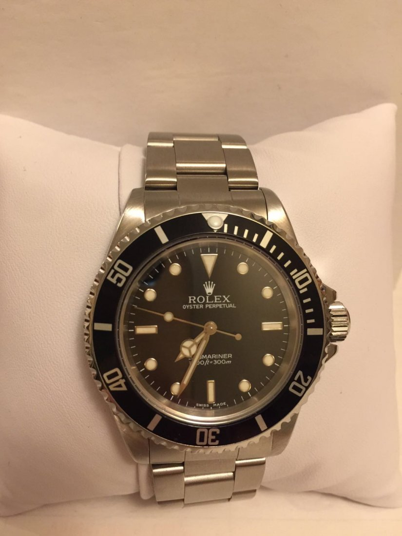 ROLEX SUBMARINER STEEL WATCH BLACK DIAL BEZEL MEN'S