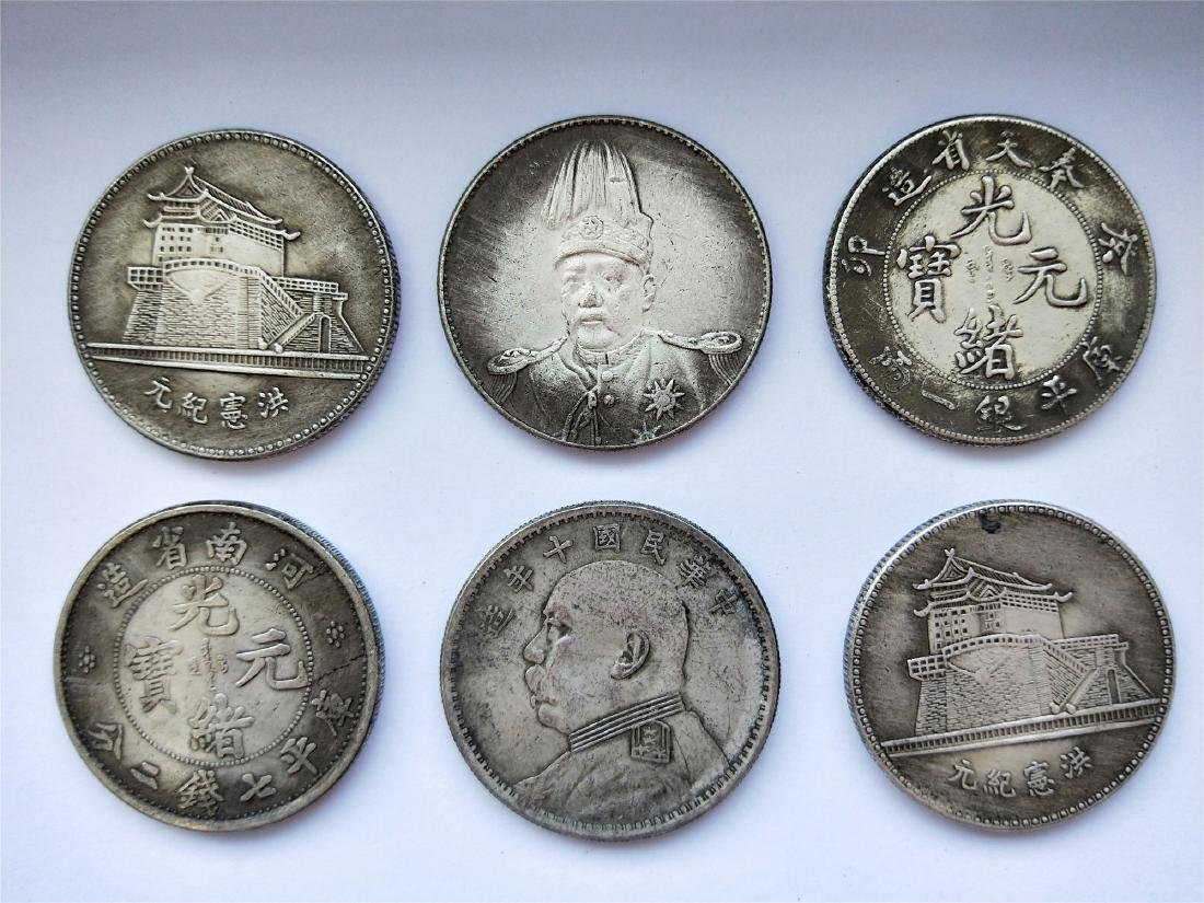 SIX CHINESE DOLLAR COINS REPUBLIC PERIOD