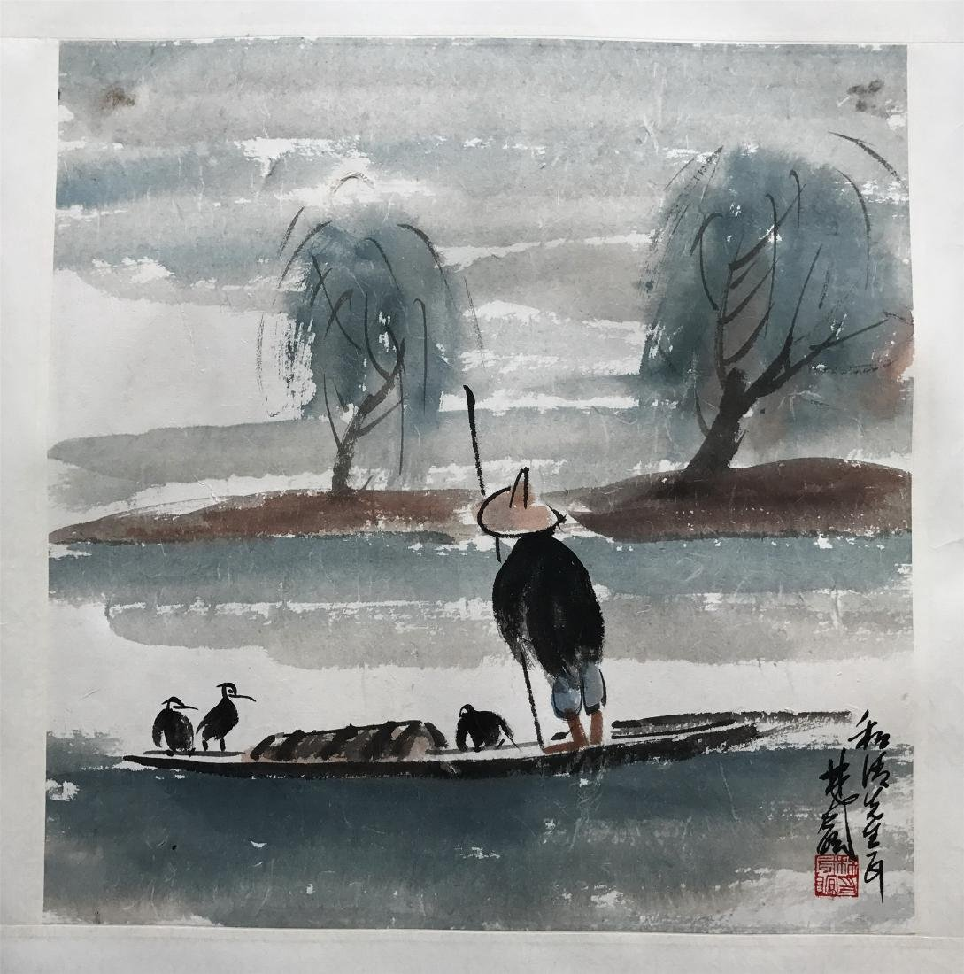 CHINESE SCROLL PAINTING OF FISHMAN ON BOAT