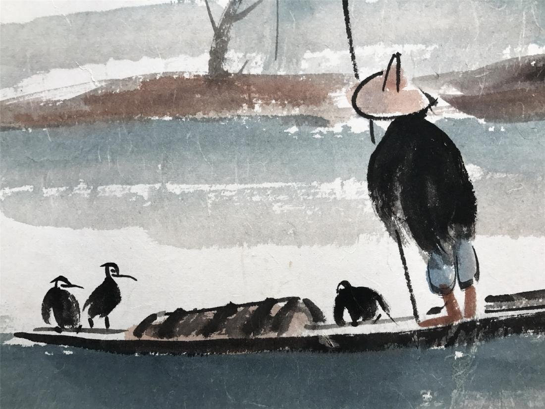 CHINESE SCROLL PAINTING OF FISHMAN ON BOAT - 3