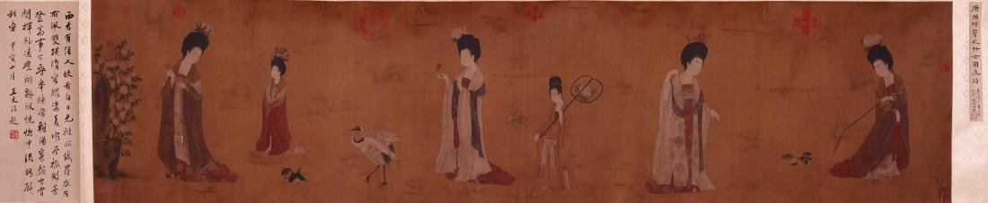 CHINESE SCROLL PAINTING OF COURT LADIES