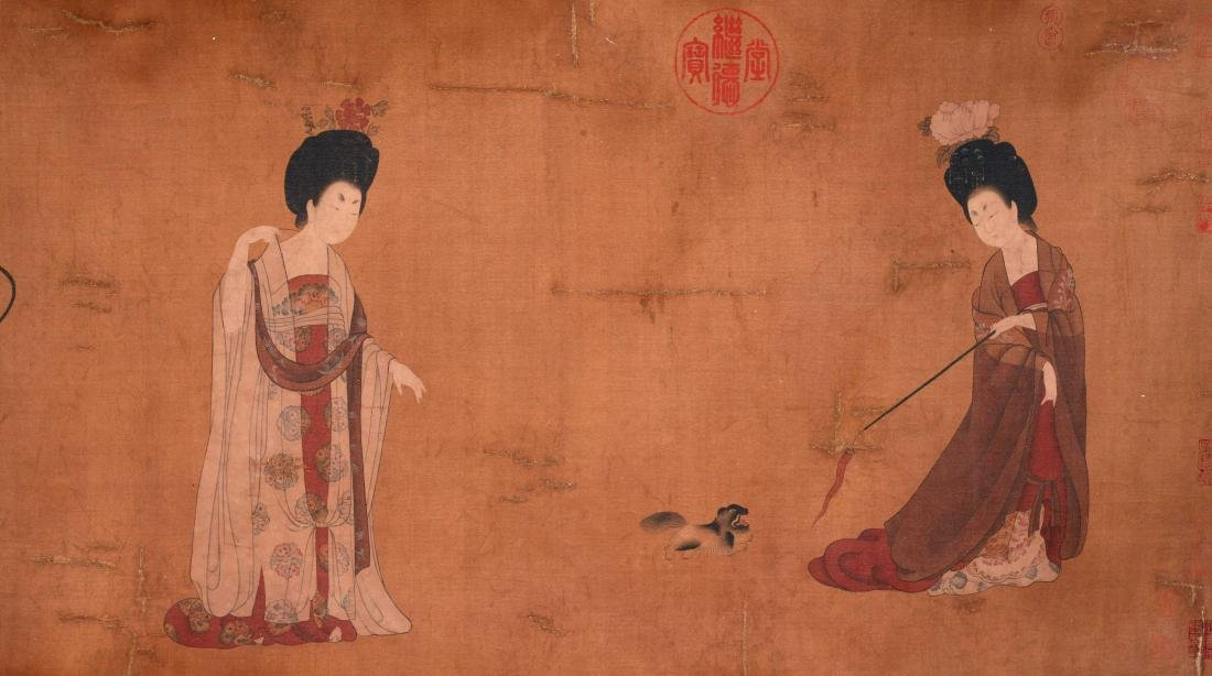 CHINESE SCROLL PAINTING OF COURT LADIES - 2