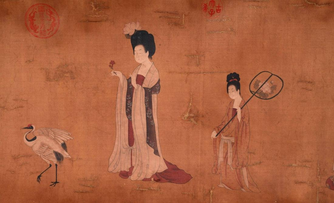 CHINESE SCROLL PAINTING OF COURT LADIES - 3