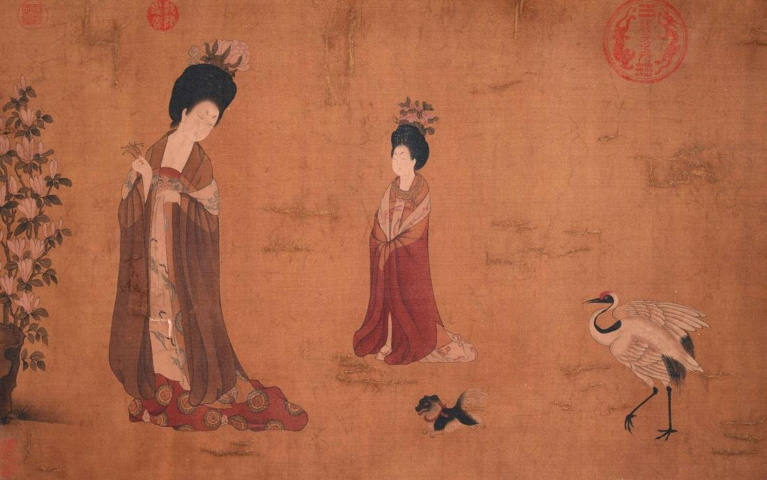 CHINESE SCROLL PAINTING OF COURT LADIES - 4