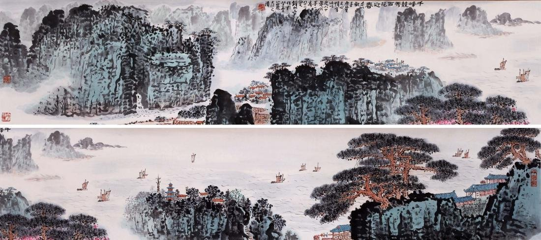 CHINESE HAND SCROLL PAINTING OF MOUNTAIN VIEWS WITH
