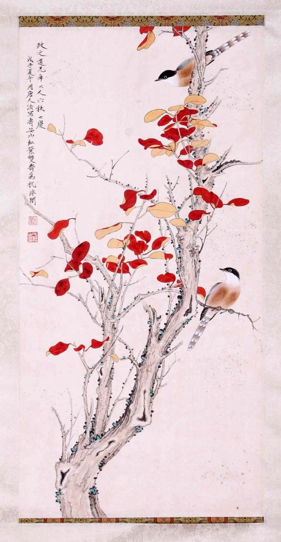 CHINESE SCROLL PAINTING OF BIRD AND FLOWRE