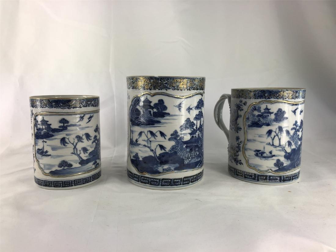 THREE CHINESE PORCELAIN CANTON  BLUE AND WHITE MILK MUG