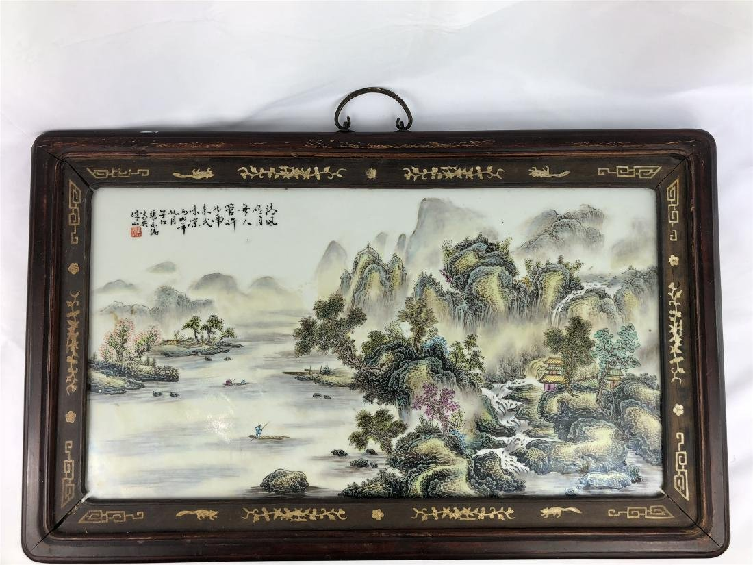 CHINESE PORCELAIN FAMILLE ROSE PLAQUE WITH MOUNTAIN