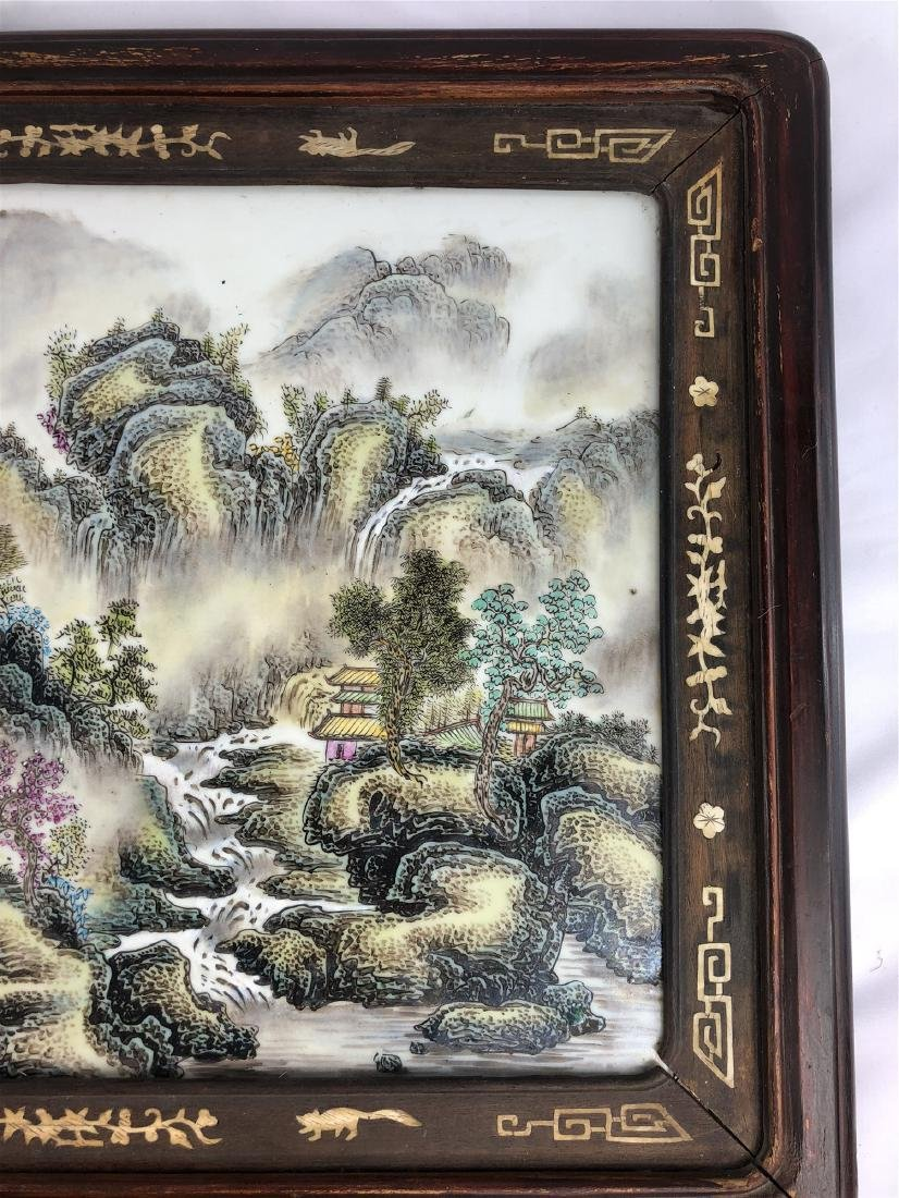 CHINESE PORCELAIN FAMILLE ROSE PLAQUE WITH MOUNTAIN - 2