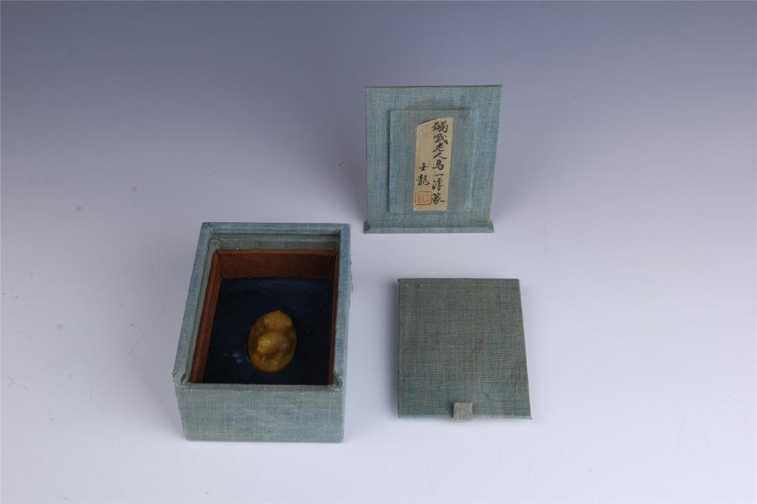 CHINESE TIANHUANG STONE SEAL WITH CASE - 7