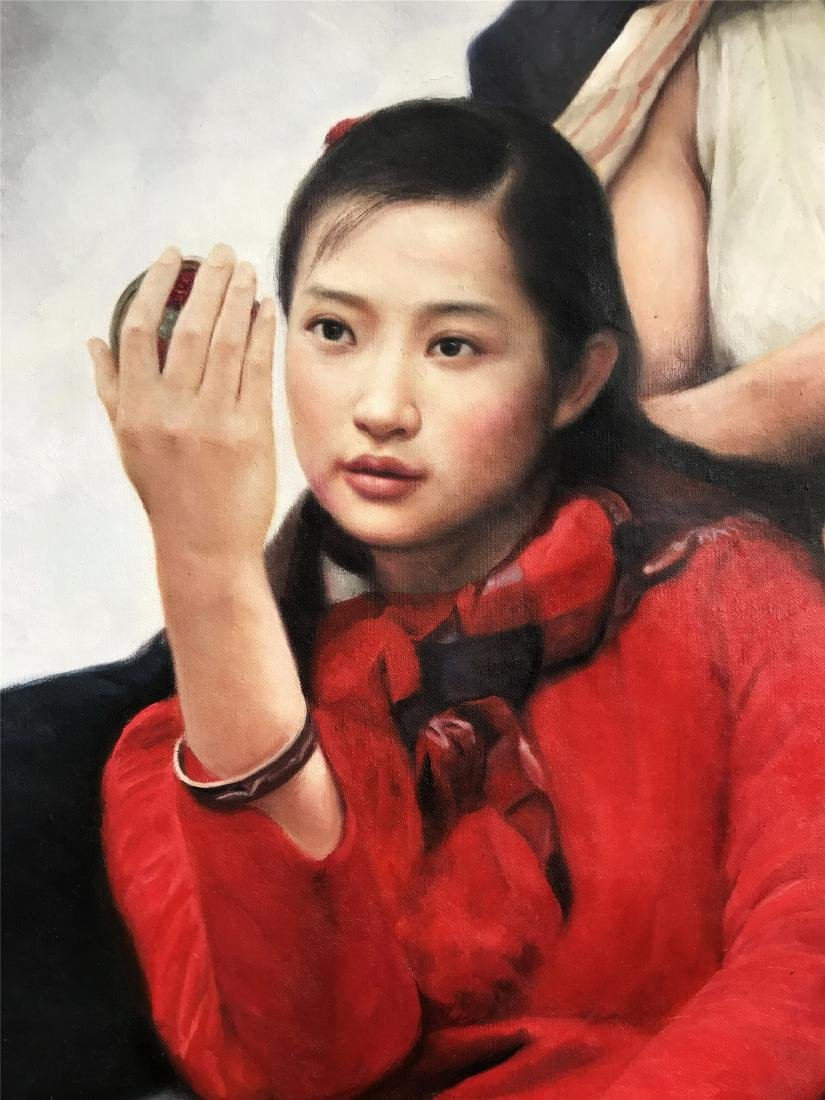 CHINESE OIL PAINTING OF YOUNG COUPLE - 2