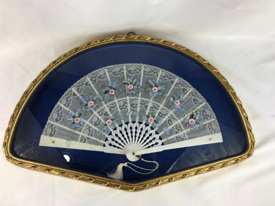 HAND PAINTED FAN IN A FRAME