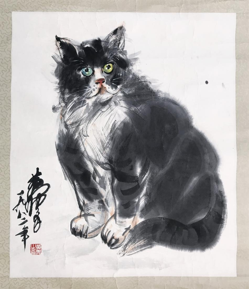 CHINESE SCROLL PAINTING OF CAT
