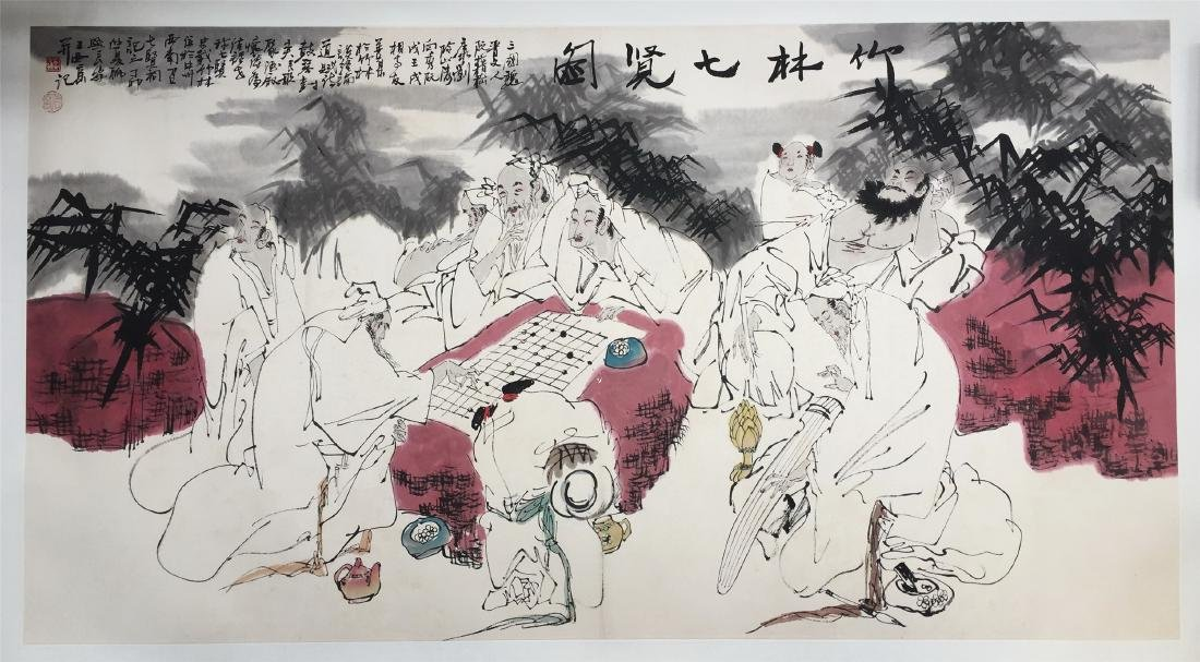 CHINESE SCROLL PAINTING OF MEN PLAYING GO CHESS