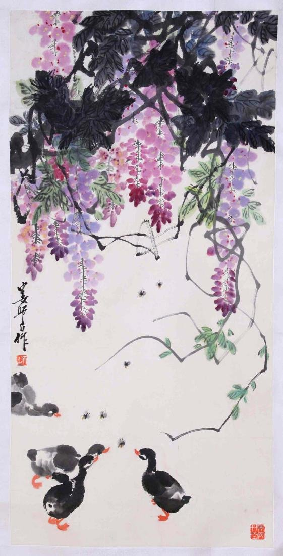 CHINESE SCROLL PAINTING OF DUCK AND FLOWER