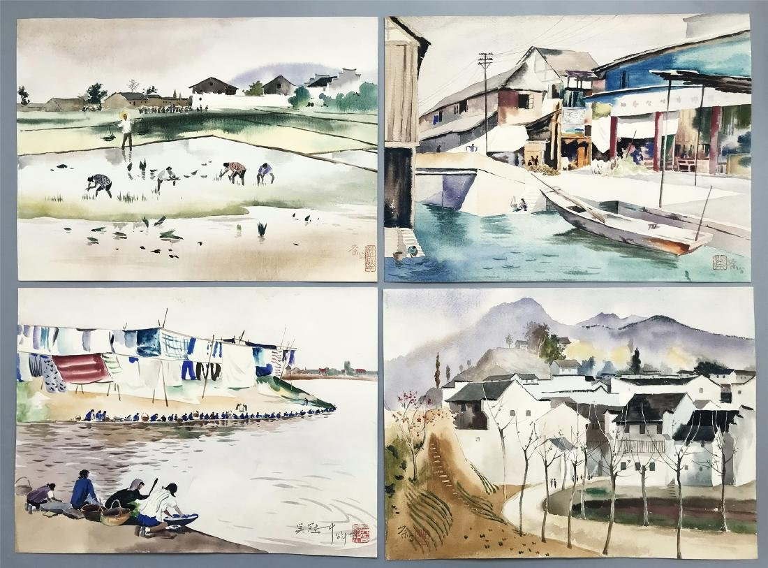 TEN PAGES OF CHINESE ABLUM WATERCOLOR OF LANDSCAPE