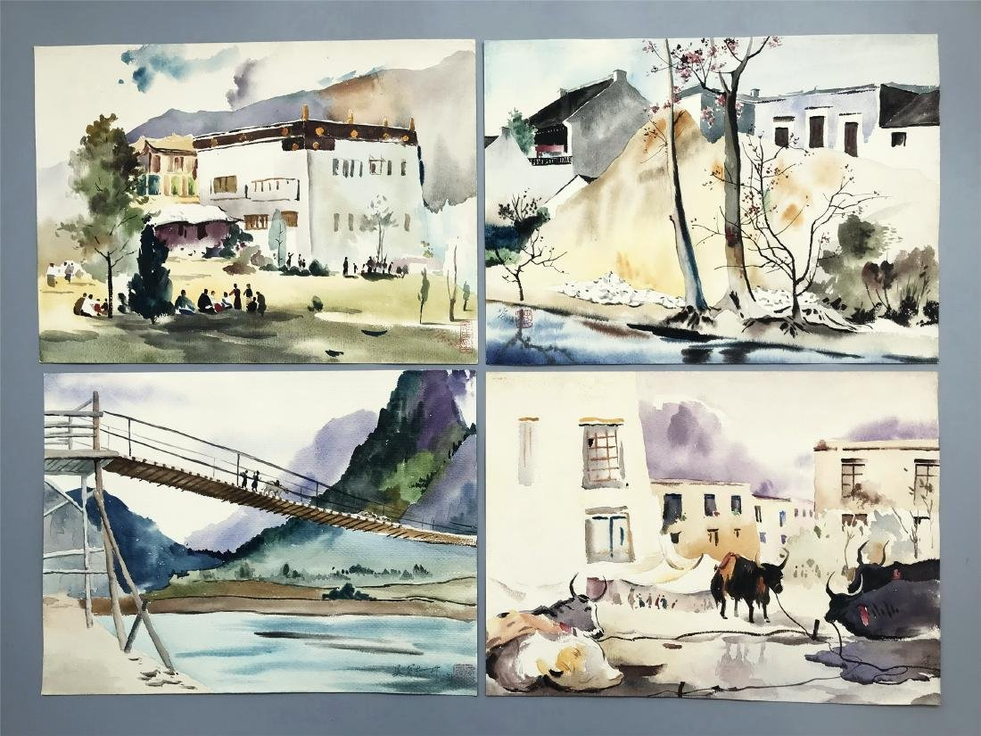 TEN PAGES OF CHINESE ABLUM WATERCOLOR OF LANDSCAPE - 2