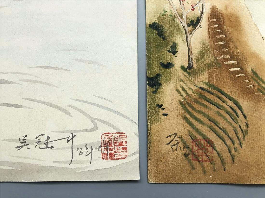 TEN PAGES OF CHINESE ABLUM WATERCOLOR OF LANDSCAPE - 4