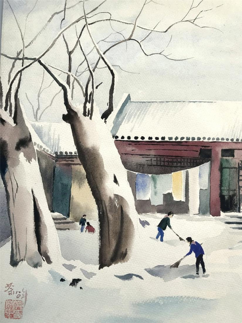 TEN PAGES OF CHINESE ABLUM WATERCOLOR OF LANDSCAPE - 6