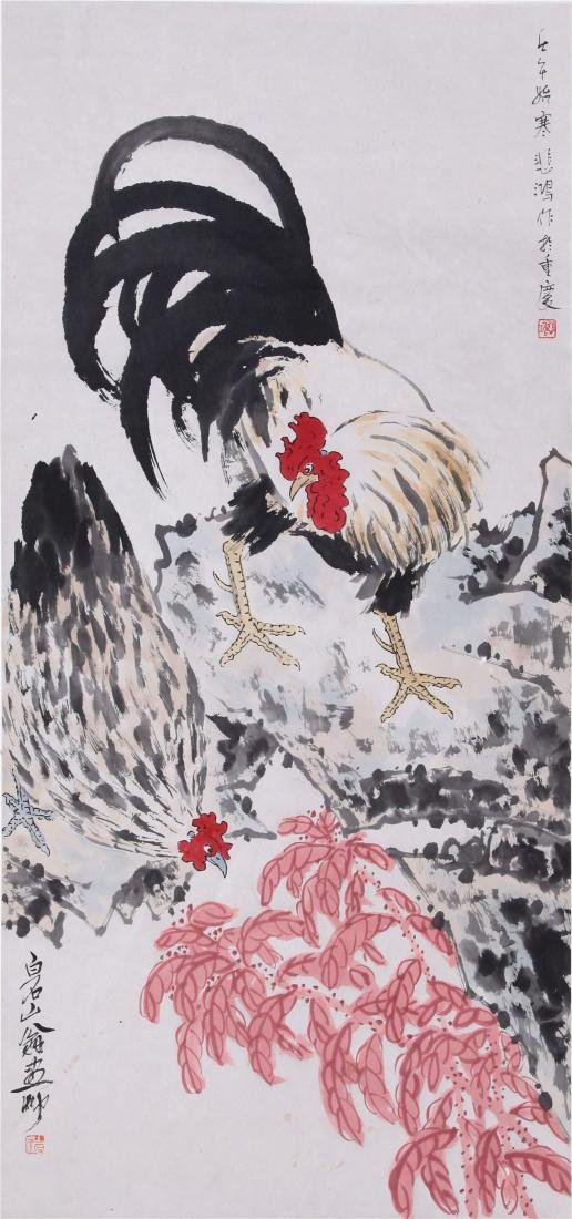 CHINESE SCROLL PAINTING OF ROOSTER ON ROCK AND - 2